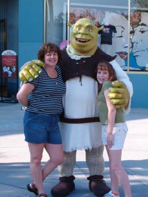 Shrek with Sophia and Jess